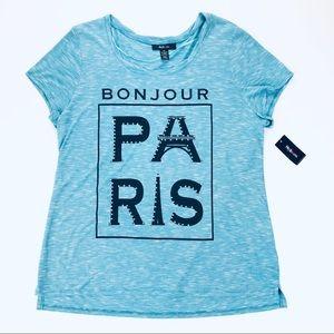 "Style & Co ""Bonjour Paris"" Tee Shirt XL NWT"